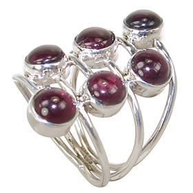 Royal Garnet Sterling Silver Ring Size Q