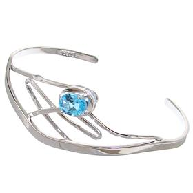 Elegant Blue Topaz Sterling Silver Bracelet Bangle