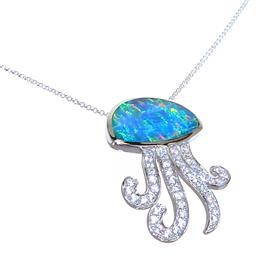 Created Fire Opal Oktopus Sterling Silver Necklace