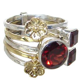 Royal Garnet Sterling Silver Ring Size N