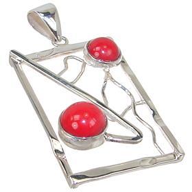 Designer Red Coral Sterling Silver Pendant