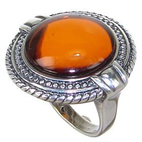 Honey Amber Sterling Silver Ring size K 1/2