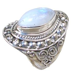 Solid Moonstone Sterling Silver Ring size R