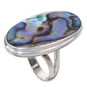 Rainbow Abalone Sterling Silver Ring size R 1/2