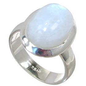 Solid Moonstone Sterling Silver Ring size M 1/2