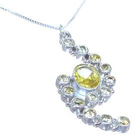 Sunny Quartz Sterling Silver Necklace 18 inches long