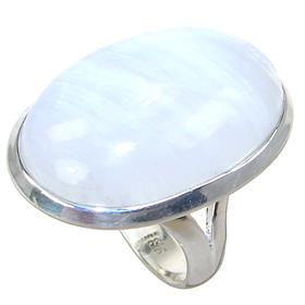 Solid Moonstone Sterling Silver Ring size Q
