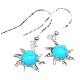Created Turquoise Sterling Silver Earrings