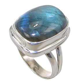 Unique Fire Labradorite Sterling Silver Ring size O 1/2