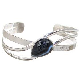 Botswana Agate Sterling Silver Bracelet Bangle