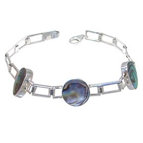 Rainbow Abalone Sterling Silver Bracelet