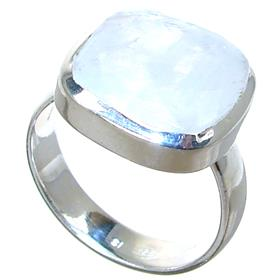 Solid Moonstone Sterling Silver Ring size M