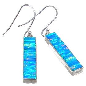 Created Sparkle Opal Sterling Silver Earrings