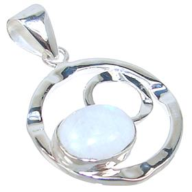 Solid Rainbow Moonstone Sterling Silver Pendant