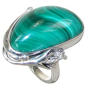 Solid Malachite Sterling Silver Ring size P 1/2 Adjustable