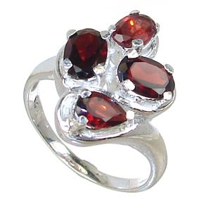 Royal Garnet Sterling Silver Ring Size P