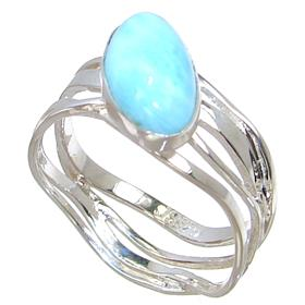 Stunning Larimar Sterling Silver Ring size S