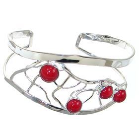 Designer Red Coral Sterling Silver Bracelet Bangle