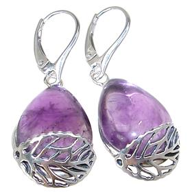 Solid Amethyst Sterling Silver Earrings