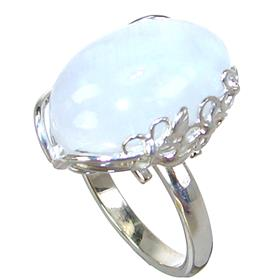 Solid Moonstone Sterling Silver Ring size Q Adjustable