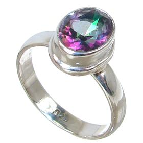 Mystic Quartz Sterling Silver Ring Jewellery size N 1/2