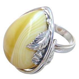 Solid Agate Sterling Silver Ring size P Adjustable