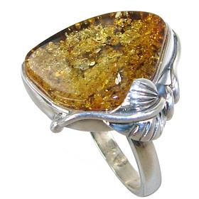 Baltic Amber Sterling Silver Gemstone Ring size R