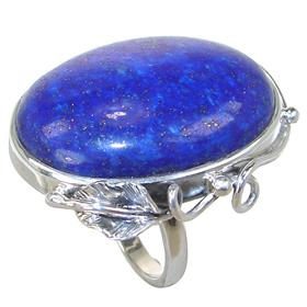 Solid Lapis Lazuli Sterling Silver Ring size Q Adjustable