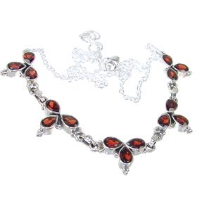 Garnet Sterling Silver Necklace 16 inches long