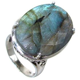 Unique Fire Labradorite Sterling Silver Ring size R 1/2