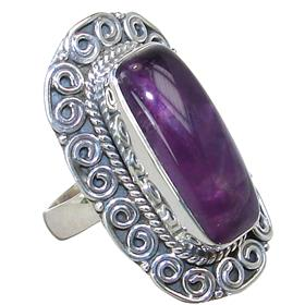 Fancy Amethyst Sterling Silver Ring size N