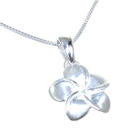 Flower Plain Sterling Silver Necklace lenght 18 inches