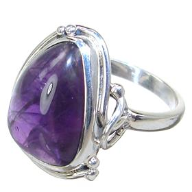 Delightful Amethyst Sterling Silver Ring size Q 1/2 Adjustable
