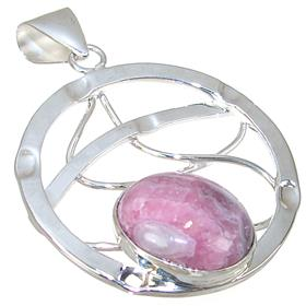 Designer Rhodochrosite Sterling Silver Pendant