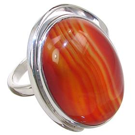 Solid Agate Sterling Silver Ring size Q 1/2 Adjustable