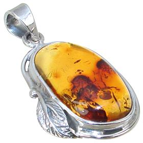 Baltic Amber Elephant Sterling Silver Pendant