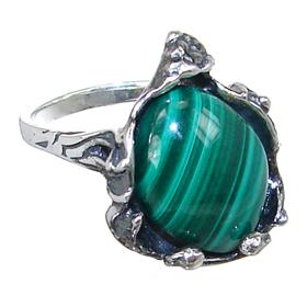 Solid Malachite Sterling Silver Ring size O