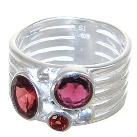 Royal Garnet Sterling Silver Ring Size T 1/2