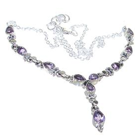 Designer Amethyst Sterling Silver Necklace 16 inches long
