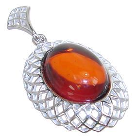 Polish Baltic Amber Sterling Silver Pendant
