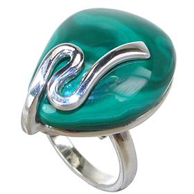 Stunning Malachite Sterling Silver Ring size P Adjustable