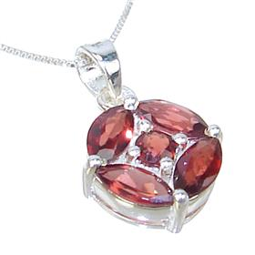 Garnet Sterling Silver Necklace 18 inches long