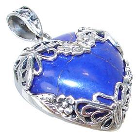 Created Lapis Lazuli Sterling Silver Pendant