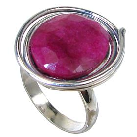 Created Ruby Sterling Silver Ring size P Adjustable