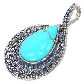 Solid Turquoise Sterling Silver Pendant