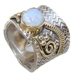 Solid Moonstone Sterling Silver Ring size N 1/2