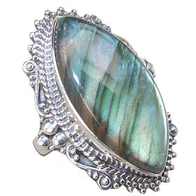 Unique Fire Labradorite Sterling Silver Ring size Q 1/2