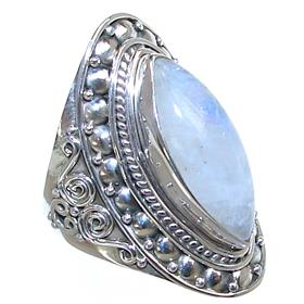 Solid Moonstone Sterling Silver Ring size R 1/2
