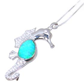 Created Fire Opal Sea Horse Sterling Silver Necklace