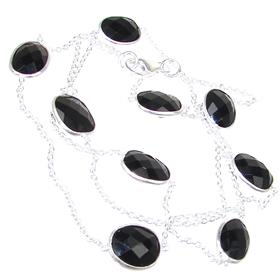 Elegant Onyx Sterling Silver Necklace 24 inches long